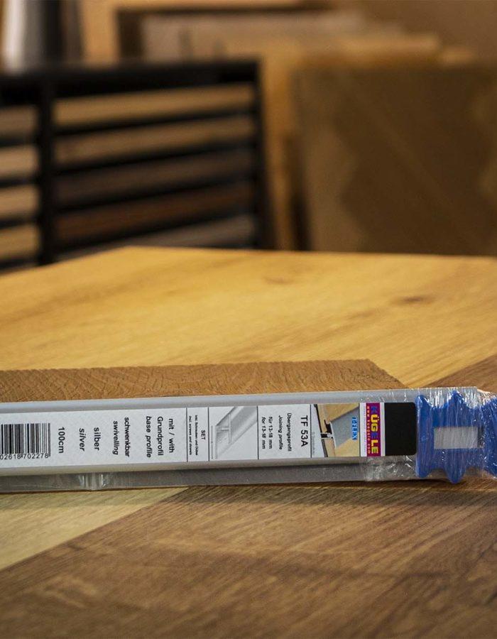 Kügele Übergansprofil Set T-FlexVerlegesystem für Parkett schwenkbar bis max. 5 mm ungebohrt