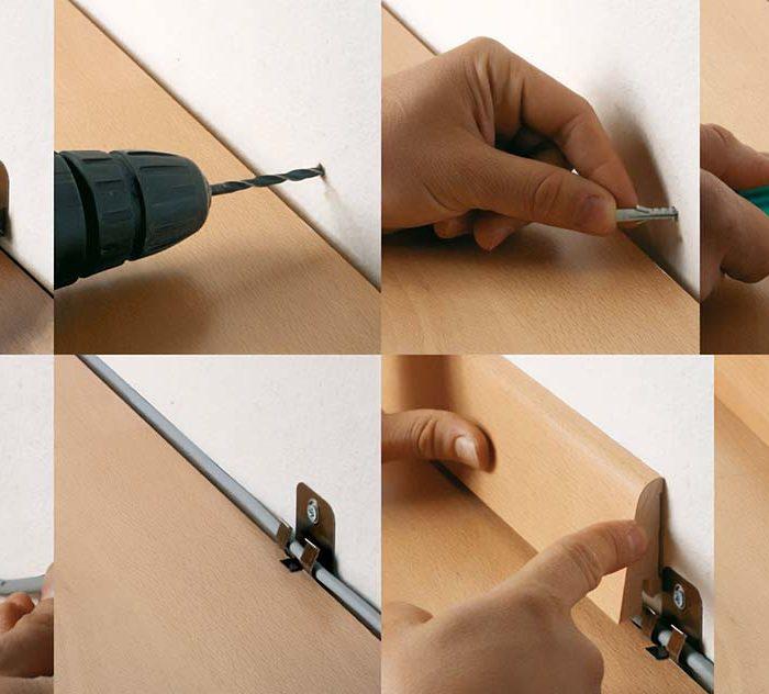 Hafro Vinyl Sockelleistenclipsinkl.Schrauben und Dübel FN Clipholder CH 23 Verbrauch: ca.3 Stk per lfm